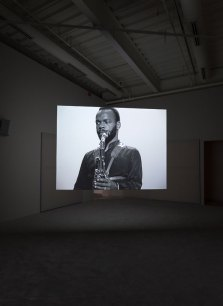 Stan Douglas, Hors-champs, 1992. Two-channel video installation with stereo sound. 13 minutes, 20 seconds, looped. Installation view, The Freedom Principle: Experiments in Art and Music, 1965 to Now, Institute of Contemporary Art, University of Pennsylvania. Photo: Constance Mensh.-CM-10