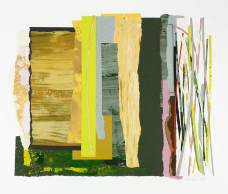 George McKim, Vertical Composition #3, Mixed Media Collage on Paper, 2006. Courtesy of Snyderman-Works