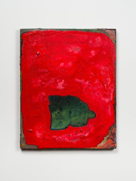 Adam Lovitz Green in the face, 2017 Acrylic paint and found mineral (schist) on panel 15 x 11 7/8 inches Credit: Courtesy the artist and Fleisher/Ollman; Photo: Claire Iltis
