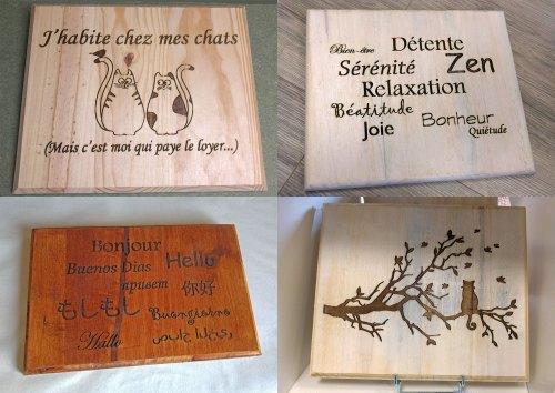 Pancartes et tableaux gravés