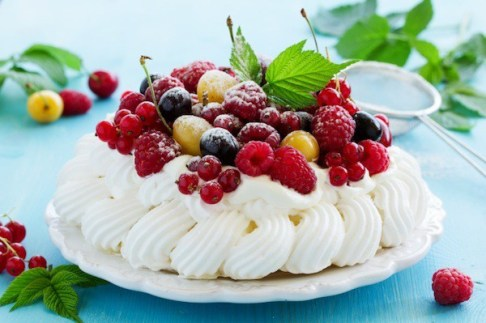 "Cake ""Pavlova"" with summer berries."