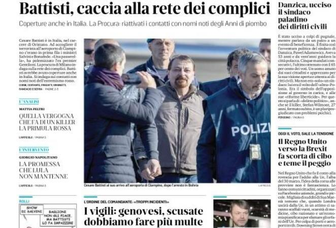 Rassegna stampa 15 gennaio: il ritorno in Italia di Cesare Battisti