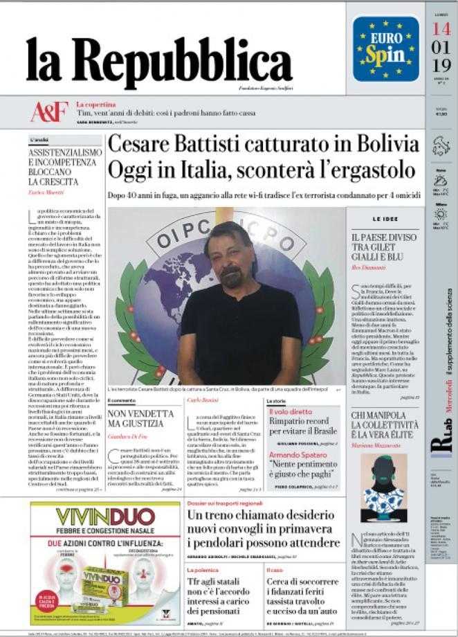 Rassegna stampa 14 gennaio: la cattura di Cesare Battisti