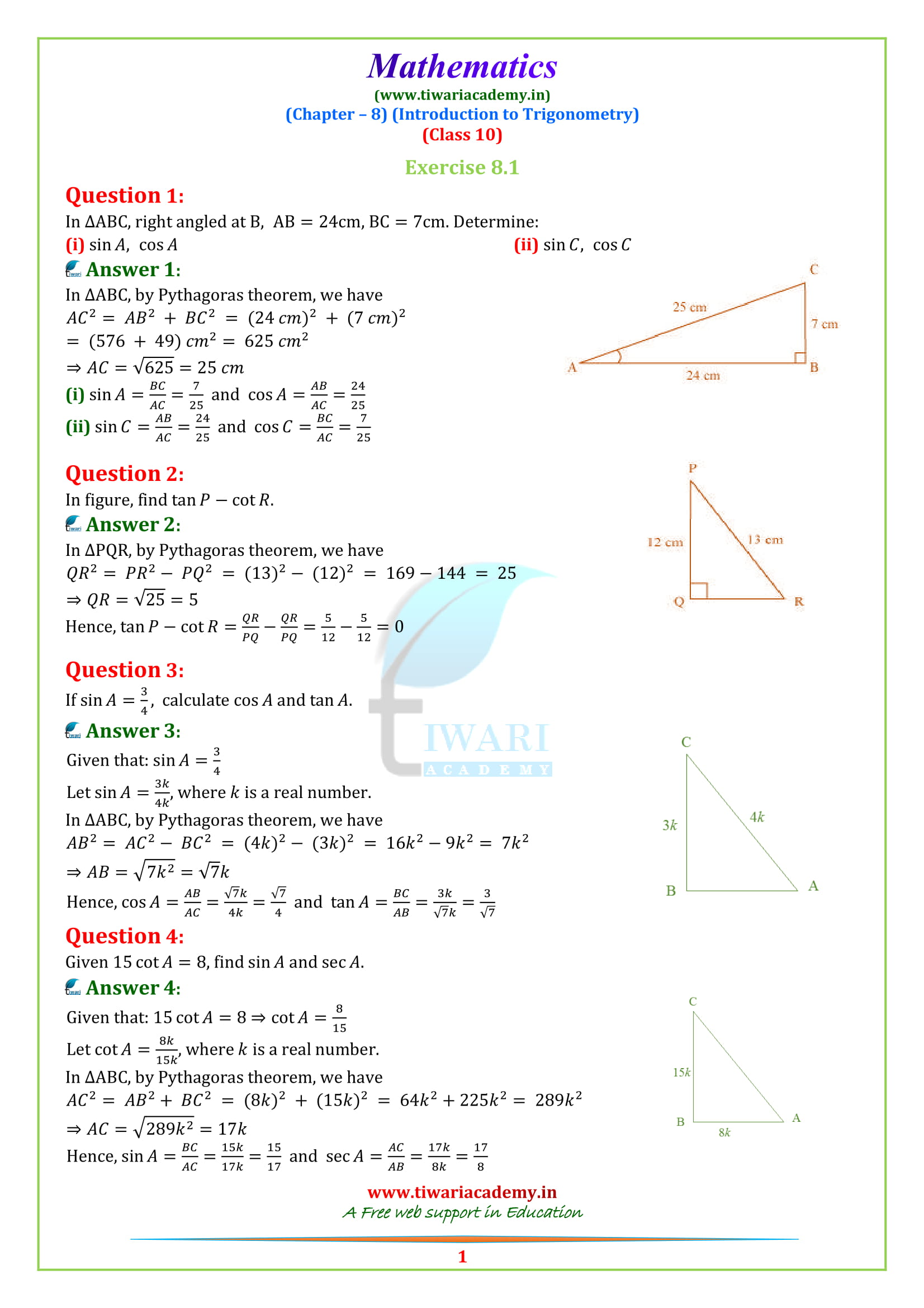 Ncert Solutions For Class 10 Maths Chapter 8 Exercise 8 1
