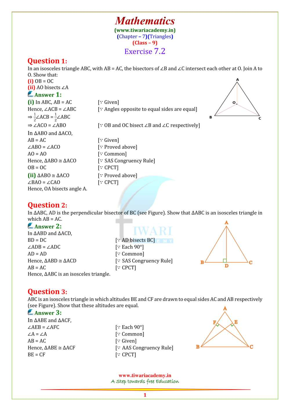 medium resolution of NCERT Solutions for Class 9 Maths Chapter 7 Triangles Exercise 7.1 - 7.5