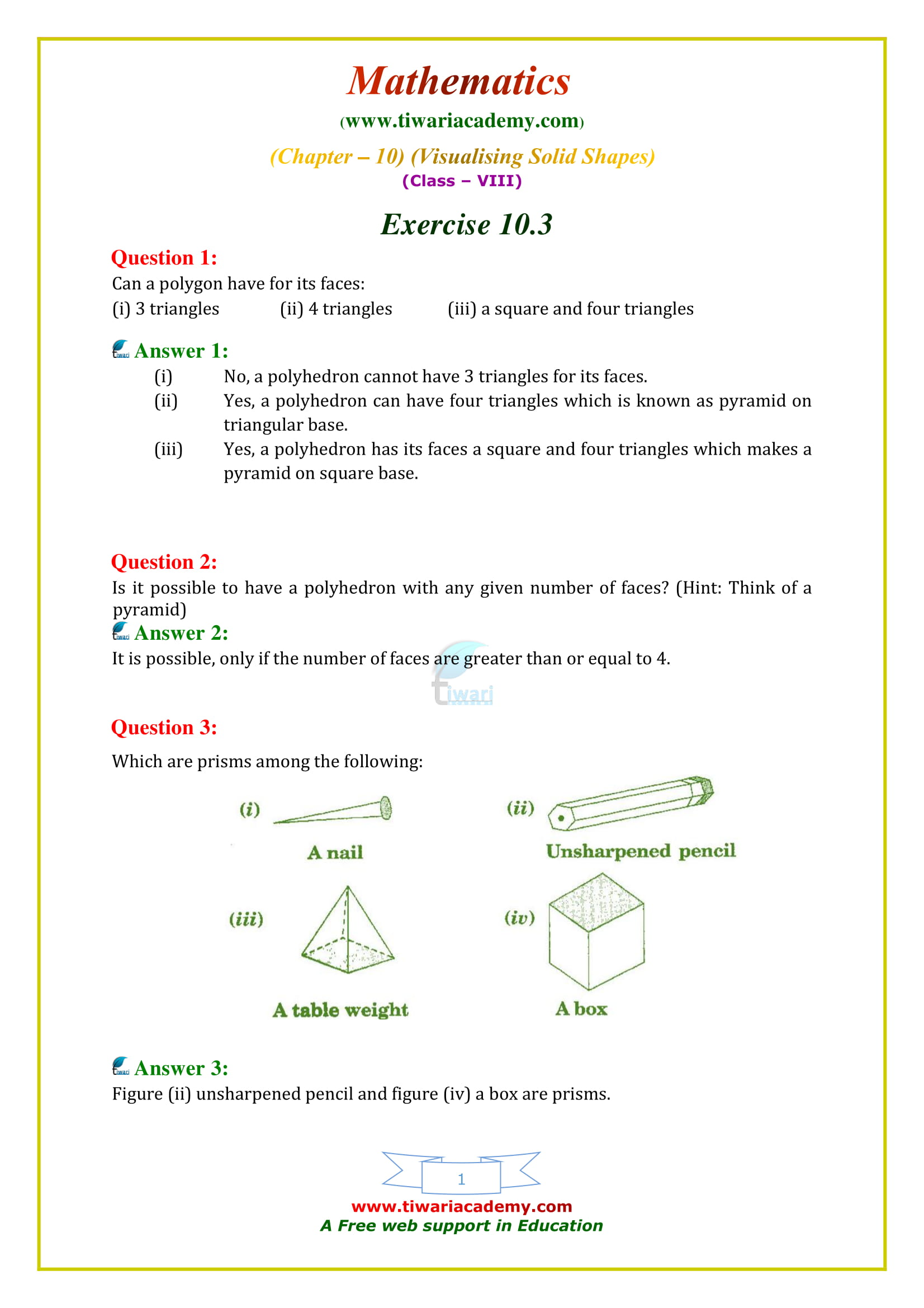 Ncert Solutions For Class 8 Maths Chapter 10 Exercise 10 3