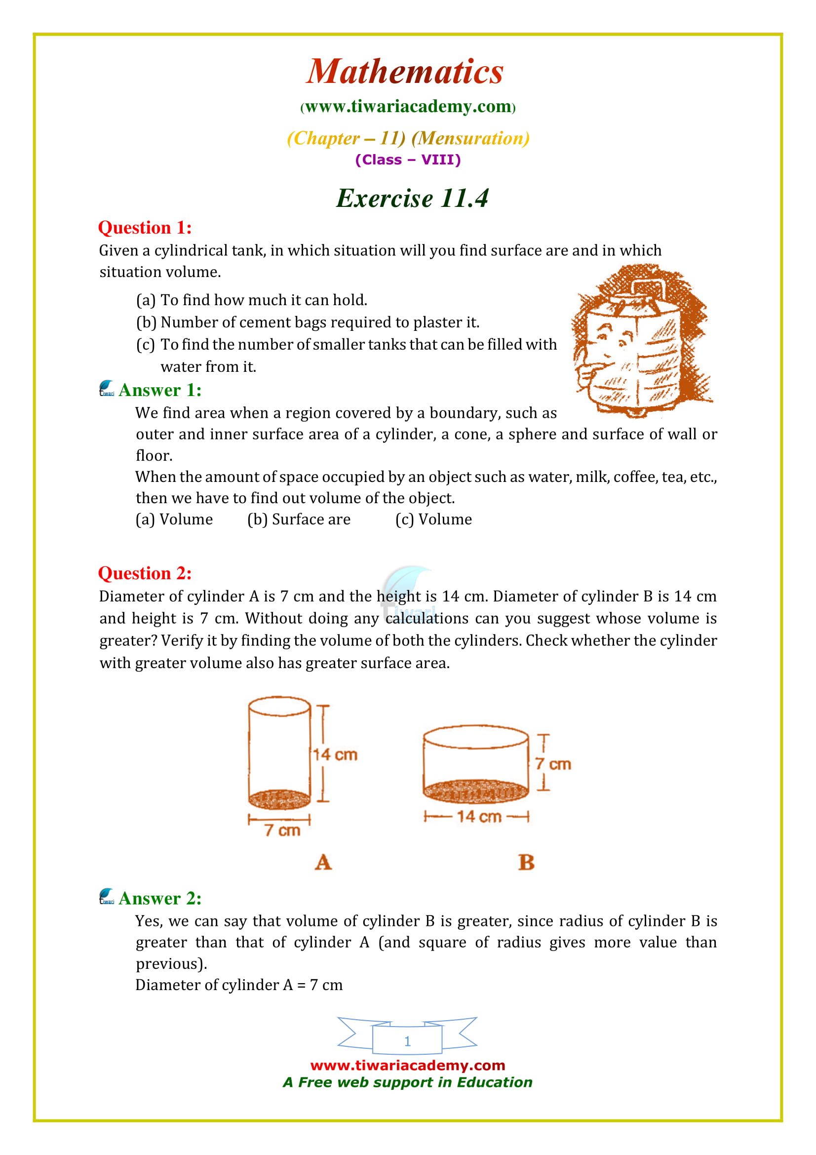 Ncert Solutions For Class 8 Maths Chapter 11 Exercise 11 4