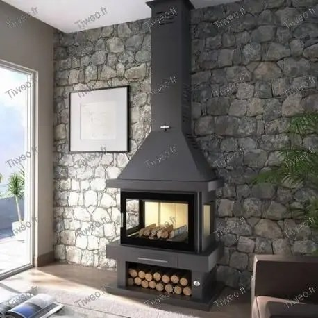 Fireplace wood 145 kW with 3 sides glass cheap