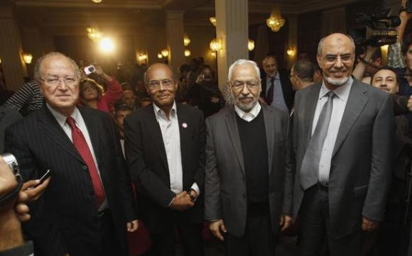 Mustapha Ben Jaafar - Moncef Marzouki - Rached Ghannouchi - Hamadi Jebali