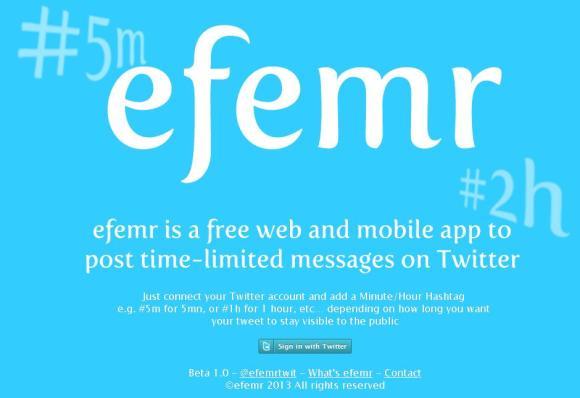 """la nouvelle appliquation """"efemr"""" sur Tweeter"""