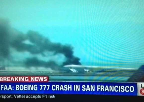 image télé du crash du Boeing 777 à l'aéroport de San Francisco
