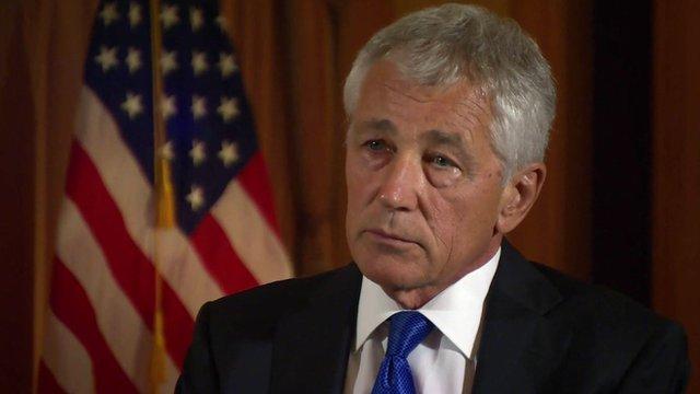 """Dans une interview à la BBC, le secrétaire américain à la Défense Chuck Hagel a dit que les militaires US sont """"prêt à aller"""" pour répondre à la Syrie"""