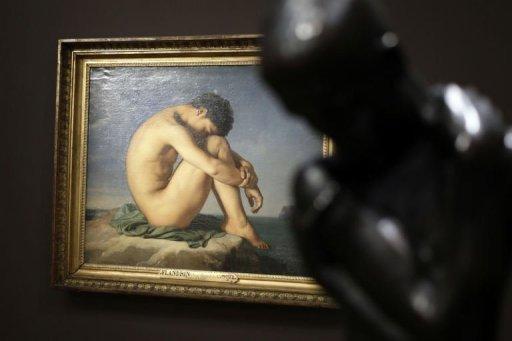 Une photo prise le 23 Septembre 2013, à Paris montre une peinture par l'artiste français Jean-Hippolyte Flandrin à l'exposition