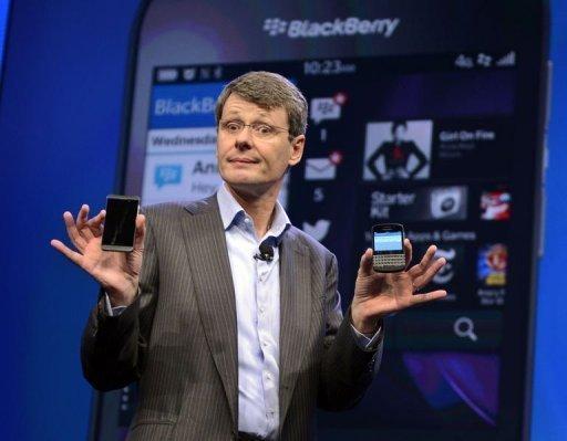 président BlackBerry Thorsten Heins dévoile la plate-forme BlackBerry 10 mobiles à New York le 30 Janvier 2013.