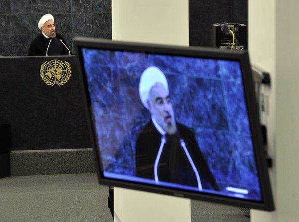 Le président iranien Hassan Rouhani s'adressant à l'Assemblée générale des Nations Unies.