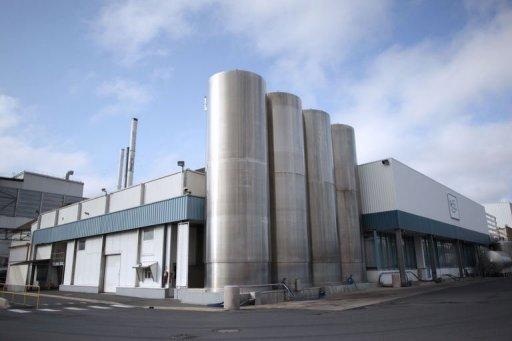 Vue de la Sainte-Mere ,usine de transformation du lait d'Isigny dans la ville du nord-ouest français d'Isigny-sur-Mer, le 4 Juillet 2013.