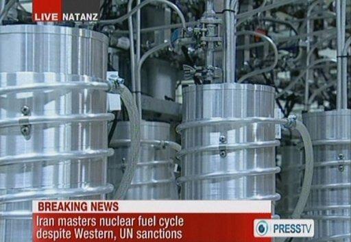 Une image de la télévision reprise en Février 2012 montre des centrifugeuses à Natanz, le site nucléaire de l'Iran.