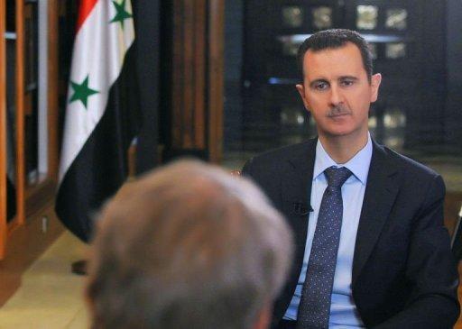 Le président syrien Bachar al-Assad interviewé par CBS à Damas le 9 Septembre 2013.