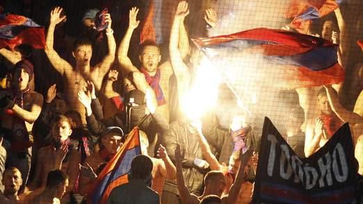 Les supporteurs russes lors du match de la champions league mercredi