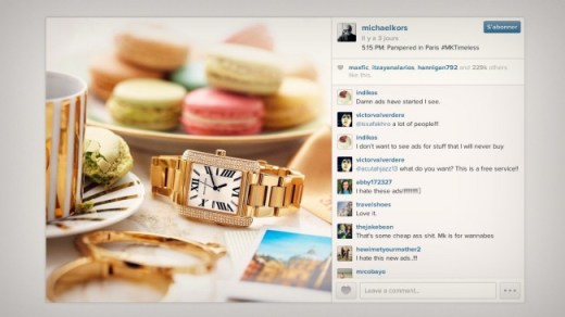 La première publicité sur Instagram fait la promotion d'une marque de vêtements et d'accessoires de mode