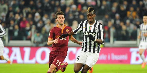 Miralem Pjanic - Paul Pogba lors d'un match Juventus - AS Rome