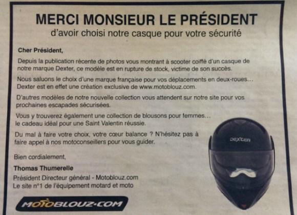 Le contenu de l'annonce adressée au Président Hollande