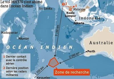 La zone de recherche du Boeing 777 de la Malaysia Airlines.