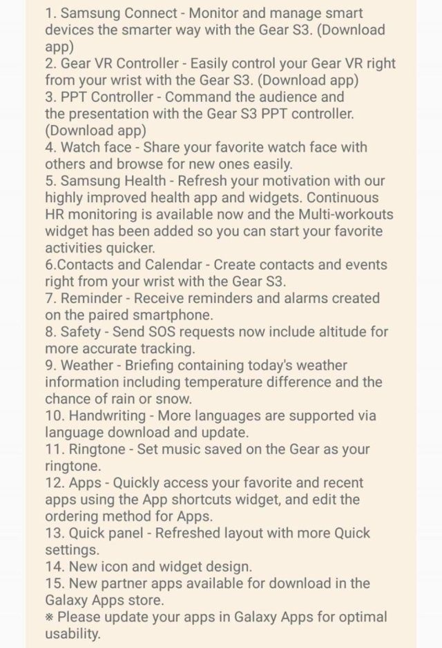 Samsung Gear Update