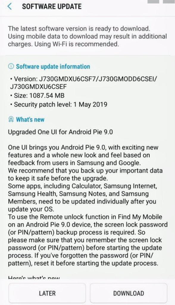 Android Pie Update for Galaxy J7 Pro Released in India - TizenHelp