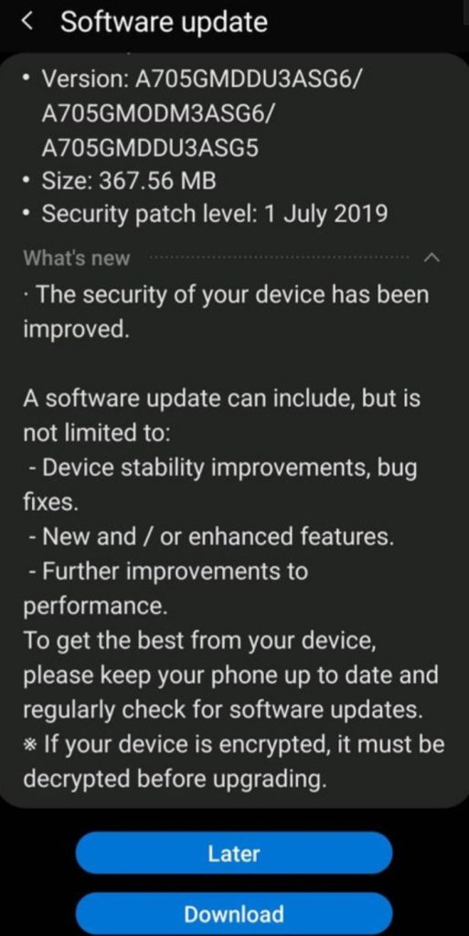 Galaxy A70 July Update