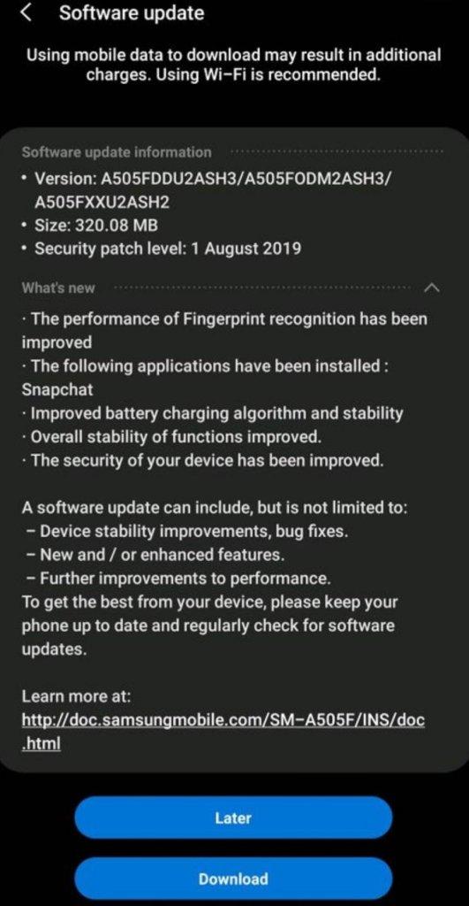 Galaxy A50 August Update
