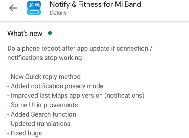 Notify & Fitness for Mi Band Update