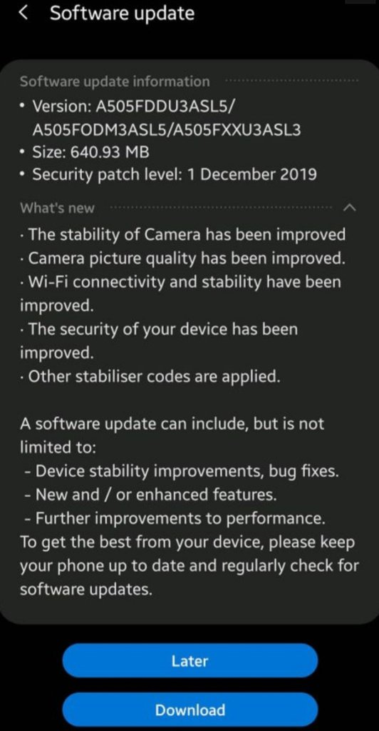 Galaxy A50 December Update