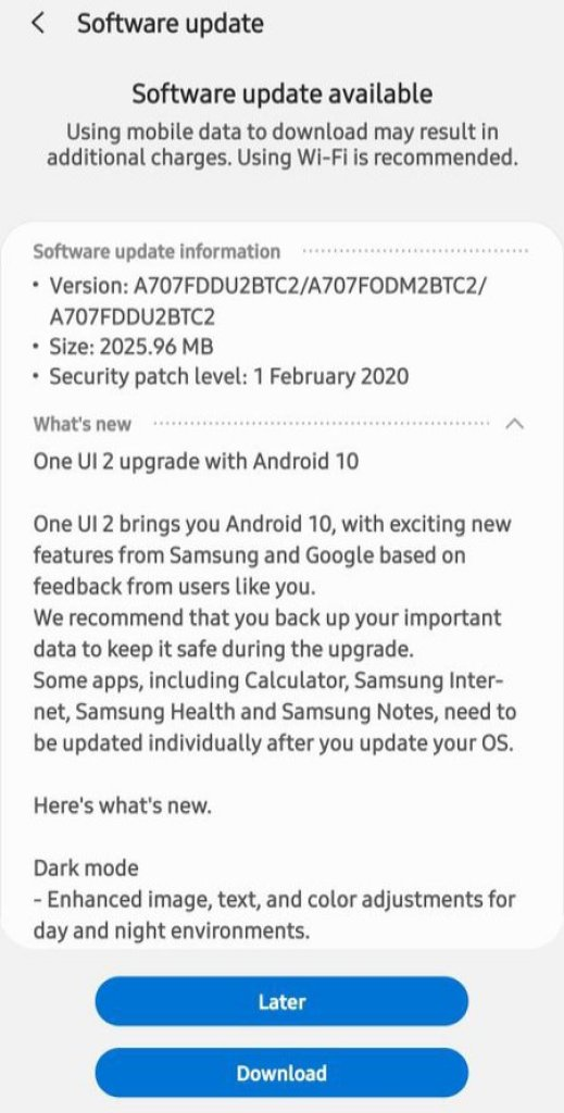 Galaxy A70s Android 10 Update