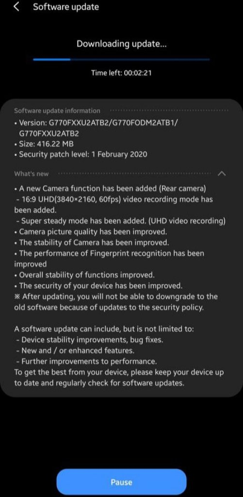 Galaxy S10 Lite Update