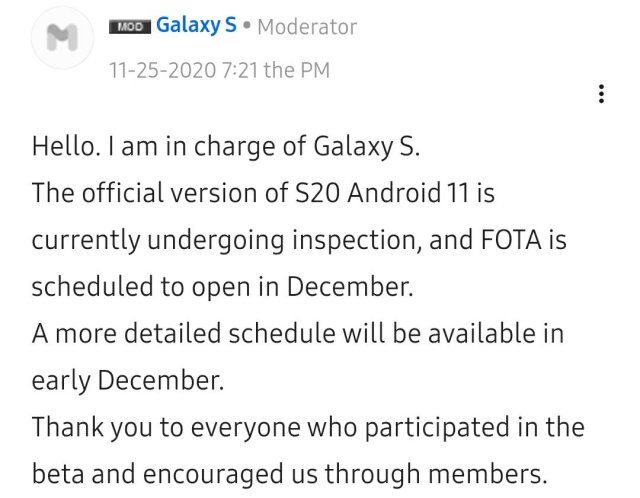 Samsung Android 11 Roadmap