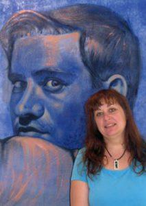 Tiziana Giammetta con il quadro Stefano