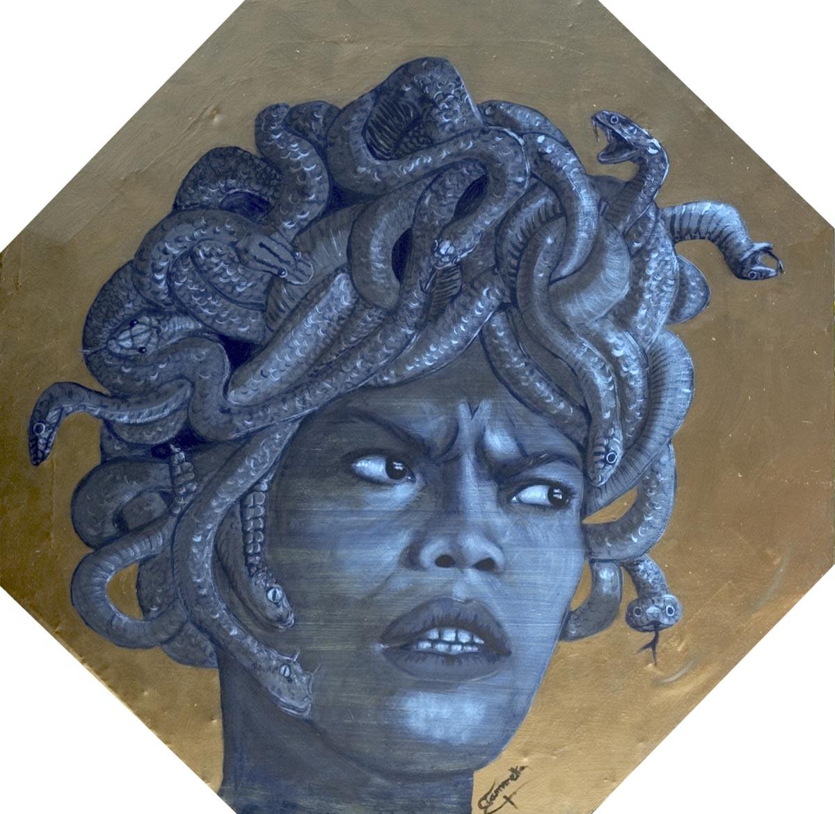 Medusa - acrilico su lenzuolo montato su tela artigianale ad Ottagono lato cm 46