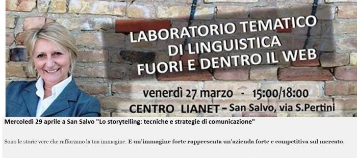 "Mercoledì 29 aprile a San Salvo ""Lo storytelling: tecniche e strategie di comunicazione"""