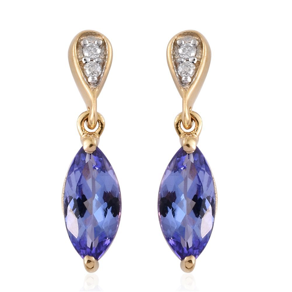 9K Yellow Gold 1.50 Carat AA Tanzanite Earrings with