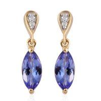 9K Yellow Gold 1.50 Carat AA Tanzanite Earrings with ...