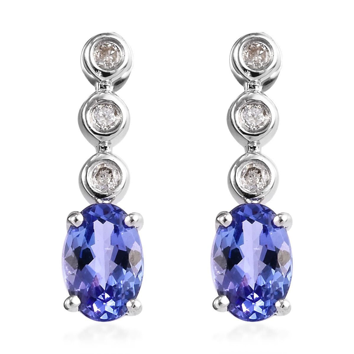 0.98 Ct AA Tanzanite and Diamond Drop Earrings in 9K White