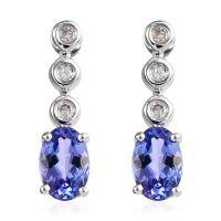 0.98 Ct AA Tanzanite and Diamond Drop Earrings in 9K White