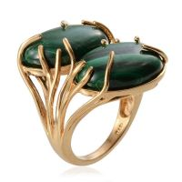 Malachite (Ovl) Ring in ION Plated 18K Y Gold Bond 27.000