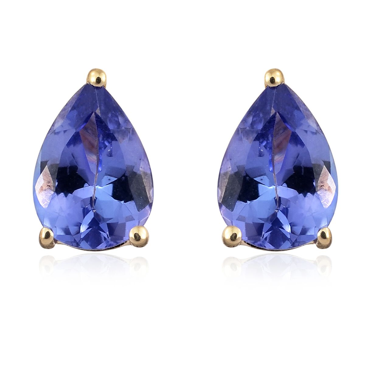 1.25 Carat AA Tanzanite Solitaire Stud Earrings with Push