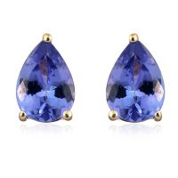 1.25 Carat AA Tanzanite Solitaire Stud Earrings with Push ...