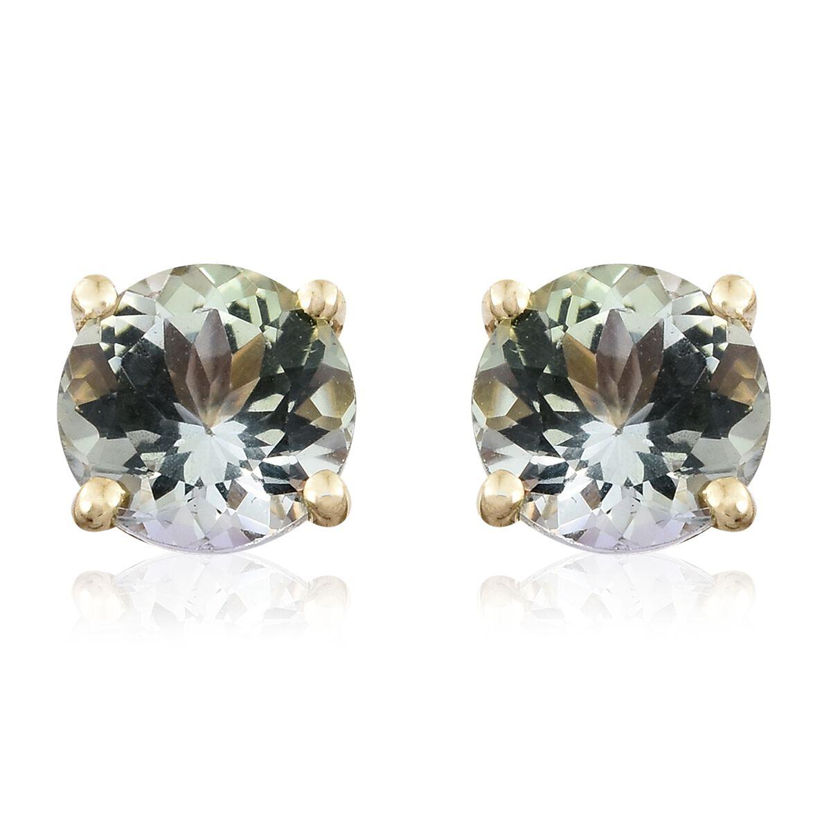 1 Carat AA Natural Green Tanzanite Stud Earrings in 9K