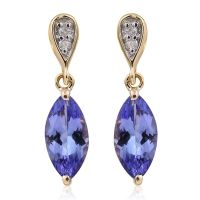 9K Yellow Gold AA Tanzanite (Mrq), Diamond (I3/G