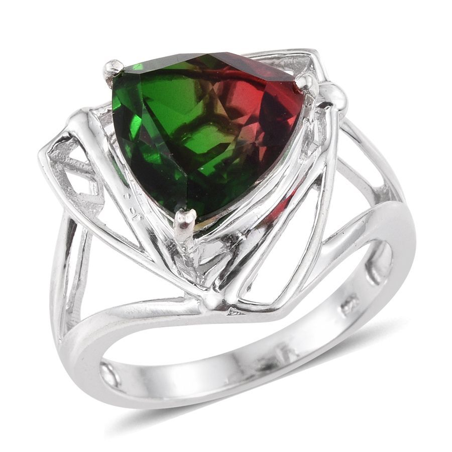 BiColor Tourmaline Quartz Trl Solitaire Ring in Platinum Overlay Sterling Silver 6250 Ct