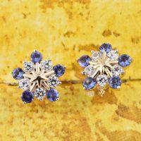 9K Yellow Gold 1.75 Ct AA Tanzanite Snowflake Earrings ...